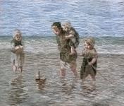 Oehlenschläger Kinder am Wasser (56cm x 47cm)