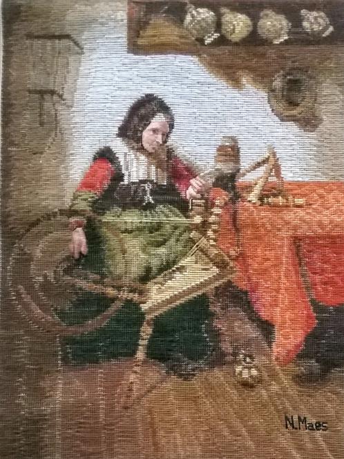 Oehlenschläger Frau ist am Spinnrad (40cm x 55cm)