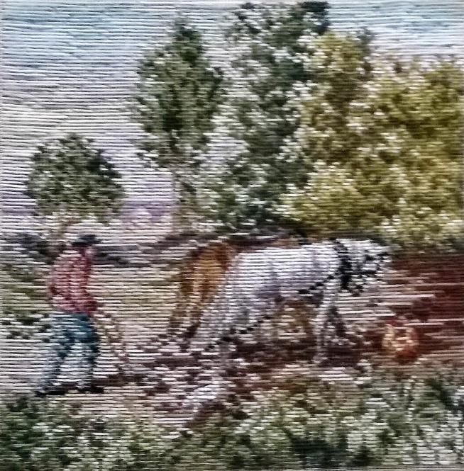 Oehlenschläger Bauer pflügt das Feld 1 (33cm x 33cm)